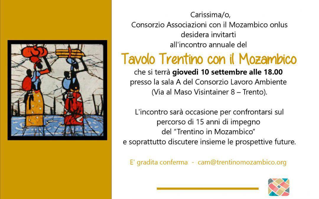 10 settembre – l'incontro annuale del Tavolo Trentino con il Mozambico
